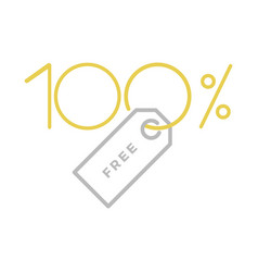 one hundred percent free label vector image