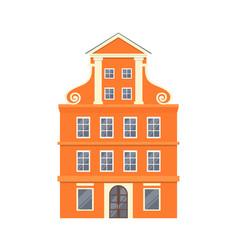 orange european style classic building facade vector image
