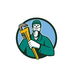 Plumber Holding Wrench Circle Retro vector