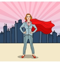 Pop Art Confident Business Woman Super Hero vector image