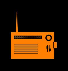 Radio sign orange icon on black vector