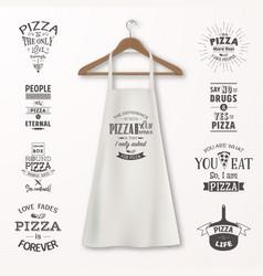 Realistic white cotton kitchen apron vector