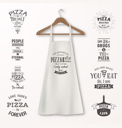 Realistic white cotton kitchen apron with vector