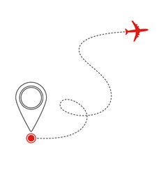 Red flying plane and mark geolocation on white vector