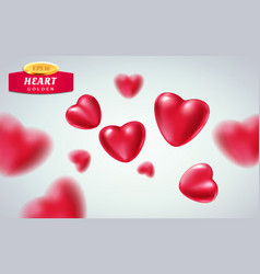 red realistic hearts isolated on light background vector image