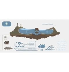 Renewable energy from tidal energy infographics vector