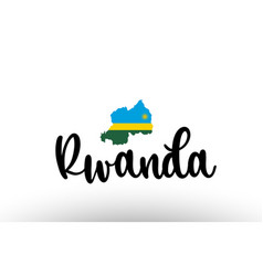 rwanda country big text with flag inside map vector image