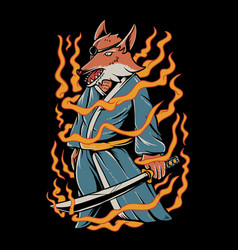 samurai fox vector image