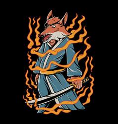 Samurai fox vector