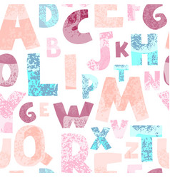 Seamless background with colorful letters on white vector