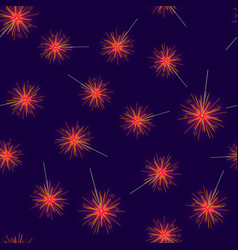 Seamless pattern of red fireworks on dark blue vector