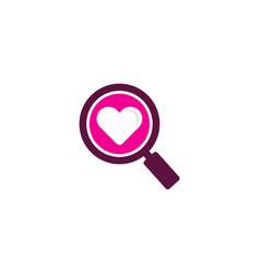 Search love logo icon design vector