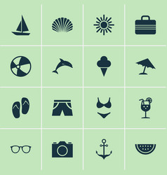 Season icons set collection of sunny forceps vector