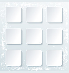 set empty square buttons with shadow isolated vector image