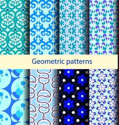 set geometric patterns blue waves vector image