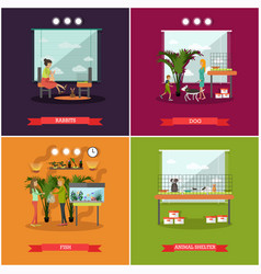 set of pets posters in flat style vector image