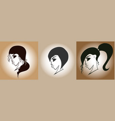 set women s hairstyles retro style vector image