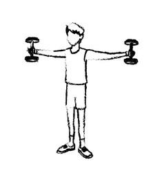Sketch boy sport gym barbell bodybuilder vector