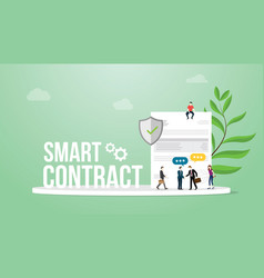 smart contract concept with big words team people vector image