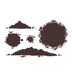 Soil for growing plants set pile ground heap vector