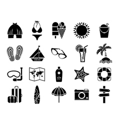 Summer icons black on white vector image vector image