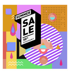 Summer sale memphis style web banner fashion vector