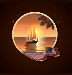 summer yacht with sails in the sea at sunset near vector image