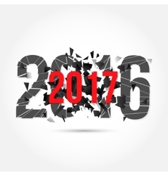 text 2017 and explosion vector image