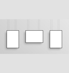 three white realistic poster mockup with black vector image