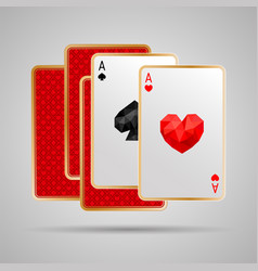 Two aces in five playing cards winning poker hand vector