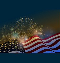united states flag fireworks background for usa vector image