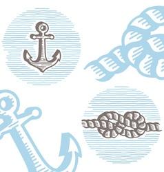 Vintage marine symbols icon set vector