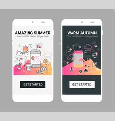 Weather line splash app screen mobile vector