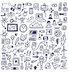 web devices - doodles set vector image
