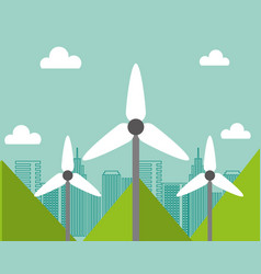 wind power turbine city renewable alternative vector image