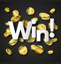Winner background with gold coins vector
