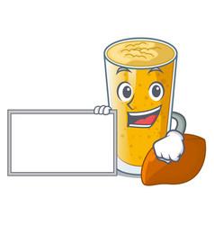 With board lassi mango in a cartoon glass vector