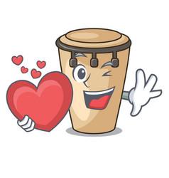 With heart conga mascot cartoon style vector