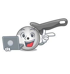 with laptop pizza cutter knife cartoon for cutting vector image