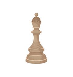 Wooden chess piece - queen beige figure of vector