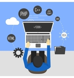 Workplace of programmer and process coding vector