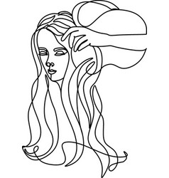 Zodiac sign aquarius one line in style vector