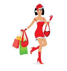 christmas girl shopping vector image vector image