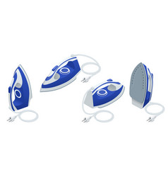 Isometric set of steam iron isolated on white vector