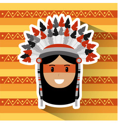 portrait native american indian character tribal vector image vector image