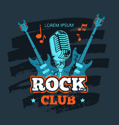 retro rock guitar and microphone music club vector image