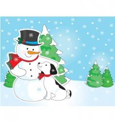 snowman and dog scene vector image vector image