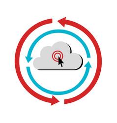 color circular emblem with cloud service storage vector image