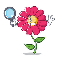 detective pink flower character cartoon vector image