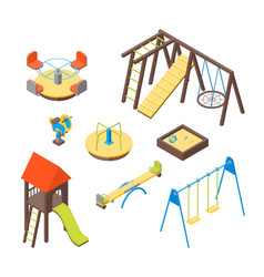 kid playground elements 3d icons set isometric vector image vector image